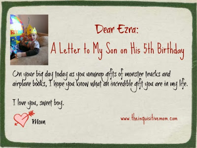 Letter to My Son on His Birthday. Love, Mom.