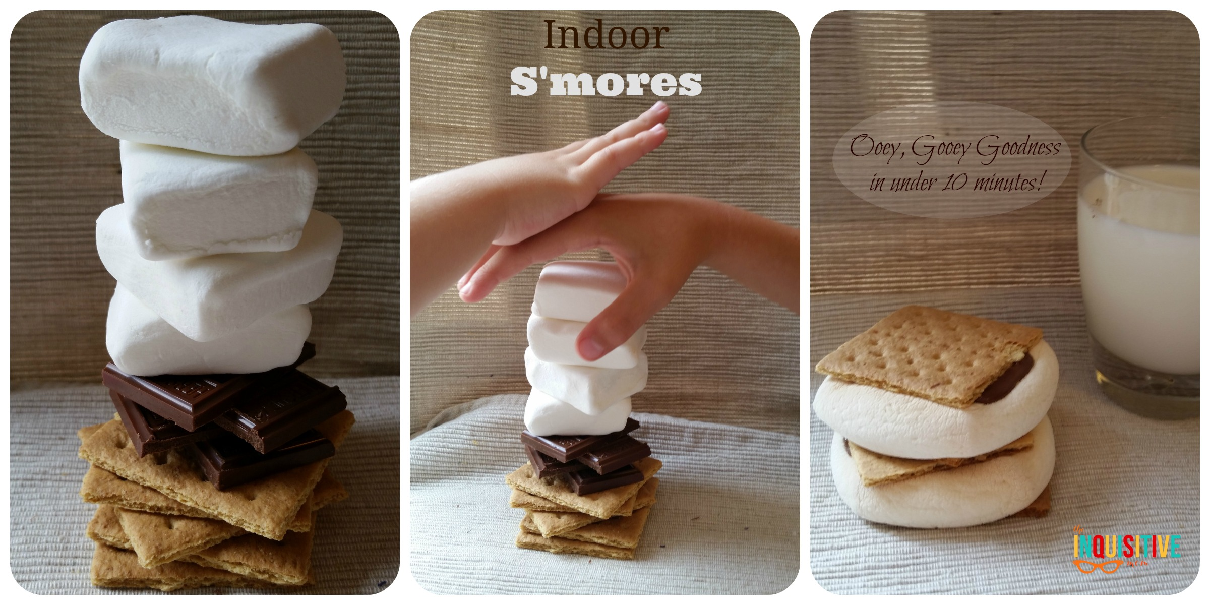 Indoor S'mores in your oven in less than 10 minutes from The Inquisitive Mom Blog. @InqMomBlog